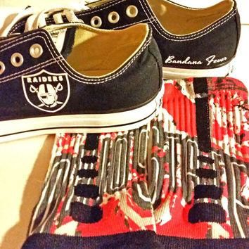 "Converse Low Black ""Oakland Raiders"" + FREE SHIPPING - by Bandana Fever"