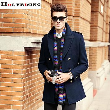 Men Wool Coats Winter Fashion Elegant Long Double Button Jackets Male Pea coat Men Overcoats