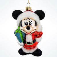 Disney Parks Glitter Glass Mickey as Santa Christmas Ornament New with Tags