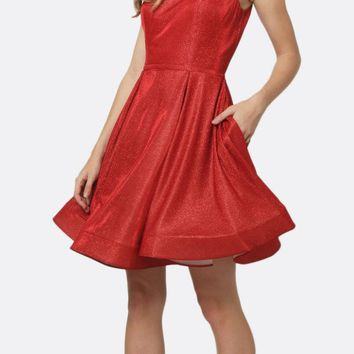 Glitter Double Straps Fit Flare Short Party Dress Red Side Pockets