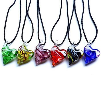 Murano Glass Heart Shaped Necklace: 4 Colors
