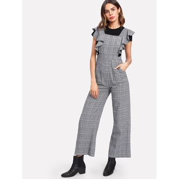 Flounce Embellished Shoulder Plaid Jumpsuit