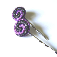 Purple And Black Swirled Bobby Pins Glittering For Halloween Or Anytime Fashion Hair Accessory