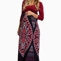 Burgundy-Tribal-Bottom-Maternity-Maxi-Dress