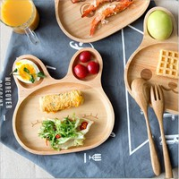 Real Lunch Box Dishes For Kids Cartoon Bunny Face Wooden Table Cute Animal Pattern Food Fruit Plate Board Child's Rice Dish