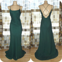 Vintage 90s 30s Green Open Cage Back Bias Harlow Gown Formal Dress Fishtail Hemline Gatsby