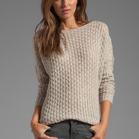 Vince Mini Cable Shirt Tail Sweater in Almondine from REVOLVEclothing.com