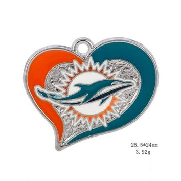 High Quality Heart Miami Dolphins Dangle Charms American Football Sports Charms DIY Jewelry Accessory Hanging Charms