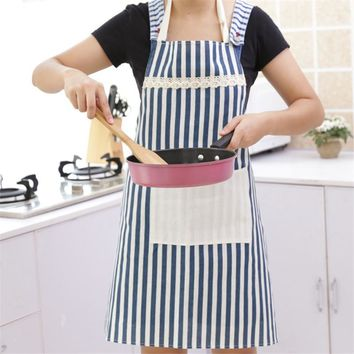 1Pcs Red Blue Striped Apron Woman Adult Bibs Home Cooking Baking Coffee Shop Cleaning Aprons Kitchen   Accessories 46027