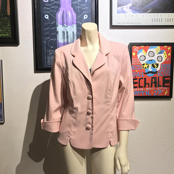 1980s LESLIE FAYE Light Pink Blazer / Ladies Slim Fit Career Professional Jacket / Blush Pink Button Up Jacket / Cuff Sleeves Collar Jacket