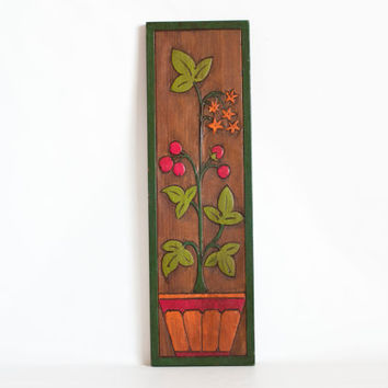 Vintage Carved Wood Plant Print Wall Hanging, Painted Boho Wood Panel, Mid Century Art Piece, Berry Bush in a Pot