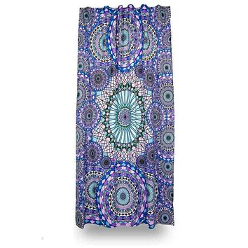 Cotton 3D Ring of Water Curtain Drape Panel 56 x 85 Inches