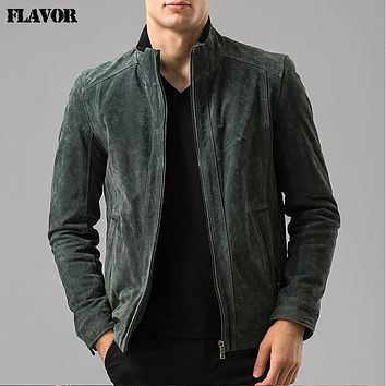 Men's real leather jacket motorcycle coat bomber jackets Genuine Leather jacket male coat