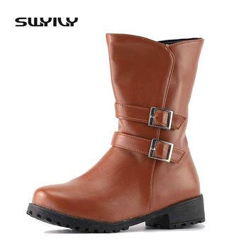Women's Boots Winter Boot Fashion Buckle Side Zip Leather Snow Shoes Warm Winter Boots Women Mid Calf Boot Plus Size 34-43