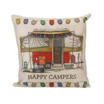 "Fun Red ""Happy Camper"" Pillow Case Cover PILLOW NOT INCLUDED"