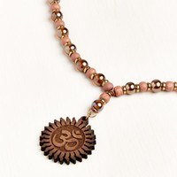 Iridescent Beaded Om Necklace
