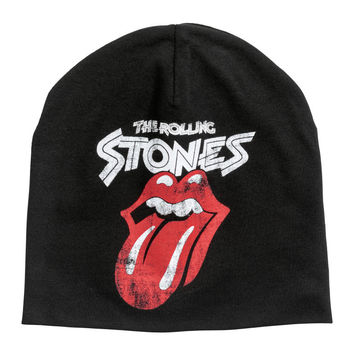 Printed Jersey Hat - Black/Rolling Stones - Kids | H&M CA
