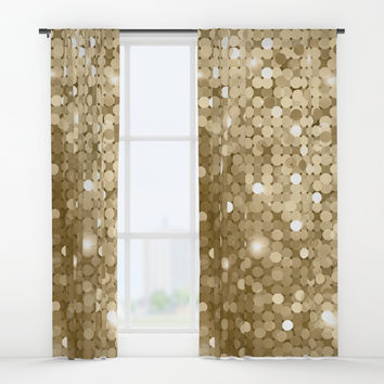Gold glitter texture Window Curtains by printapix