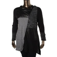 Style & Co. Womens Plus Knit Faux Leather Pullover Sweater