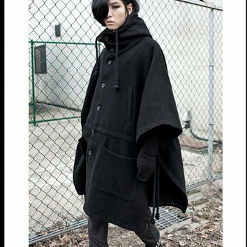 Spring and Autumn Korean young men non-mainstream long coat loose bat sleeve head hoodie cape cloak men's long-sleeved jacket