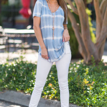 Wild Whereabouts Top, Sky Blue