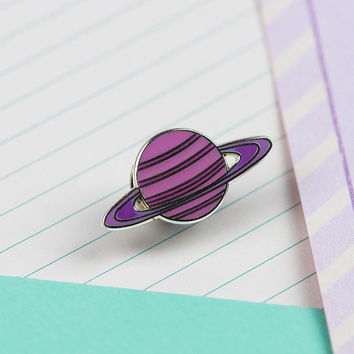Pink Planet Enamel Pin // Space enamel pin // Solar system pin badge//EP037
