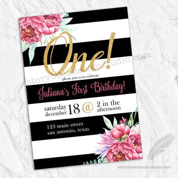 Shop black and gold birthday party invitations on wanelo black white gold and floral first birthday party invitations filmwisefo