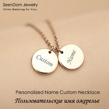 Personalized Name Engraved Gold Plated Discs Chokers Custom Monogram Pendant Love Necklace Gift For Family Friends Valentines