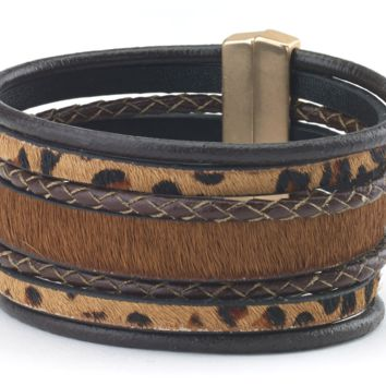 Animal Print Leather Cuff