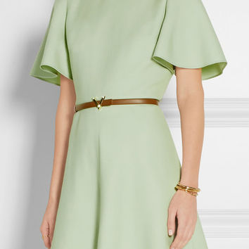 Valentino - Belted wool and silk-blend mini dress