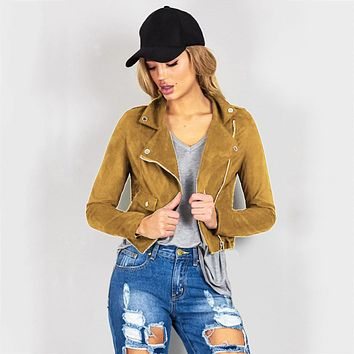 New Fashion Women Suede Jacket Black Brown Faux Leather Jackets Lady Bomber Motorcycle Cool Outerwear Coat