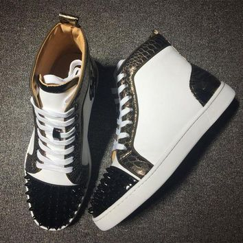 DCCK Cl Christian Louboutin Lou Spikes Style #2180 Sneakers Fashion Shoes