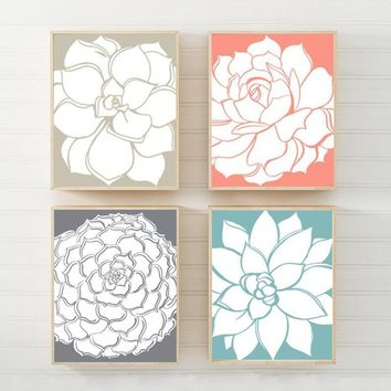 Succulent Flower Wall Art, Coral Aqua Beige CANVAS or Prints, Floral Wall Art, Botanical Artwork, Wall Decor, Floral Bathroom Art Set of 4