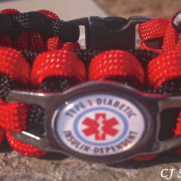 DIABETES Medical Alert AWARENESS SS Shoelace Charm Survival Band