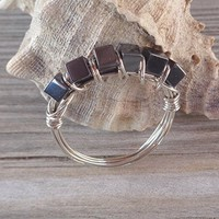 Hematite Wrapped Ring 925 Sterling Silver