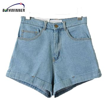 Bothwinner High Waist Denim Shorts for Women 2017 Brand Style Shorts Jeans Women Denim Shorts Feminino Slim Hip Plus Size