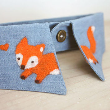 Stamped Orange Fox Blue Jean Collar The Little Prince Fairy Tale Wool Fire Fox Collar Necklace Felted Animal Collar Cuff Clothing Accessory