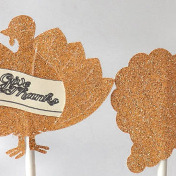 12 Thanksgiving Cupcake Toppers, Glitter Orange Gold, Autumn Cornucopia, Give Thanks Turkey, Set of 12 Food Picks