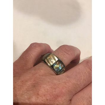 Antique White Abalone Infinity Alpaca silver ring