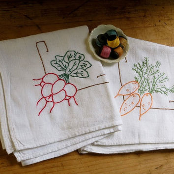 Vintage Hand Embroidered Dish Towel Set, Flour Sack Fabric, Vegetables - Carrots and Radishes - Pair of Two Cloths - Cottage Kitchen Decor
