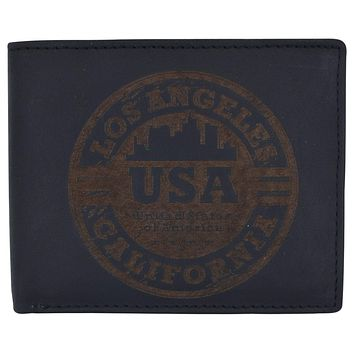 Los Angeles Mens RFID Genuine Leather Card ID Bifold Wallet