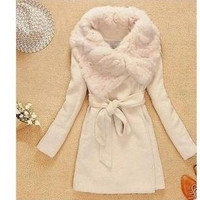 Women's Wool Long Coat ,Fashion Warm Winter Leisure Wear,Cloak Blends Fur Jacket,S/M/L = 1931817860