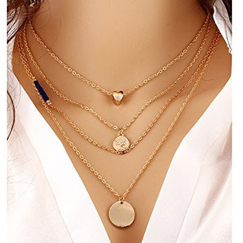 Glitz Classic Multilayer Link Chain Beads Body Necklace Alloy Plated Gold Heart Tree Pendant Necklace
