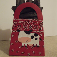 Cow party favor Purse Set of 8 by armywife711 on Etsy