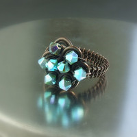 Turquoise copper ring metallic blue Swarovski ring handmade antiqued wire wrapped crystal jewelry size 7