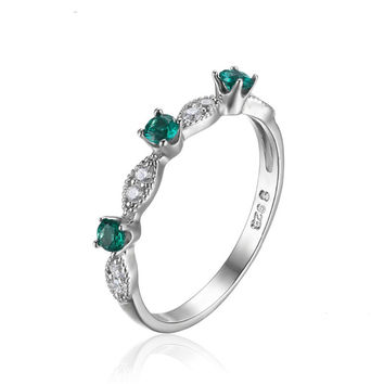 Silver 3 stones Round Cut Lab Created Emerald Engagement Wedding Ring