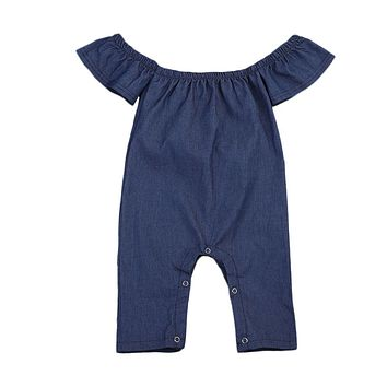 Fashion Toddler Kids Denim Romper 2017 Summer Fly Sleeve Off shoulder Solid Blue Newborn Baby Girls Playsuit Jumpsuit Clothes