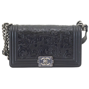 CHANEL bag medium black Boy Cordoba Paris Dallas Embossed Leather Flap Bag 14A