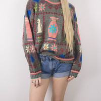 Vintage Floral Cats Knit Sweater