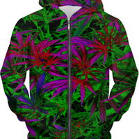 420 trippy ganja pattern, purple and green pot, marihujana leafs hoodie design
